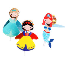 54Pcs Princess Snow White Mermaid Cartoon Candy Lollipop Decoration Card For Kids Birthday Party Supplies Candy Gift Accessories(China)
