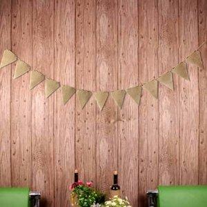 Image 4 - 13 unidades/juego de banderines de tela de yute, banderines con letras Vintage, banderines de arpillera para fiesta de cumpleaños y boda, decoración rústica para boda