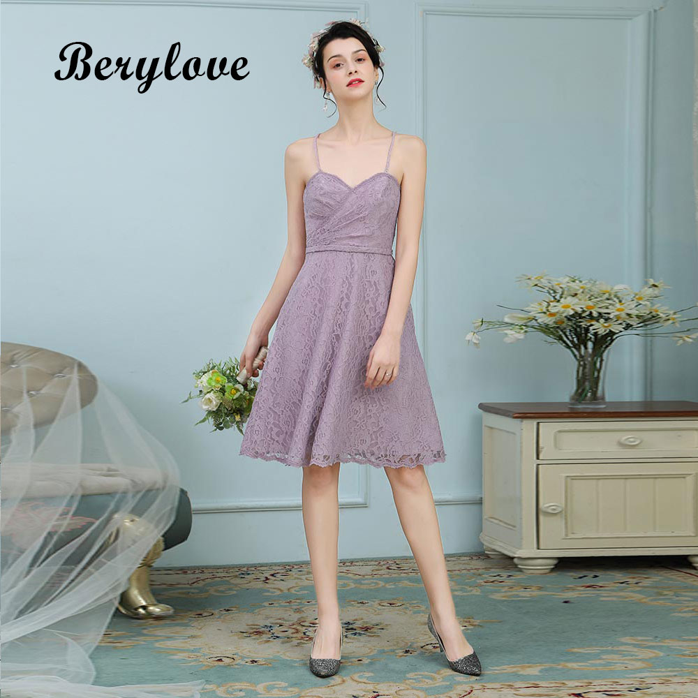 BeryLove Short Knee Length Lavender Lace Bridesmaid ...
