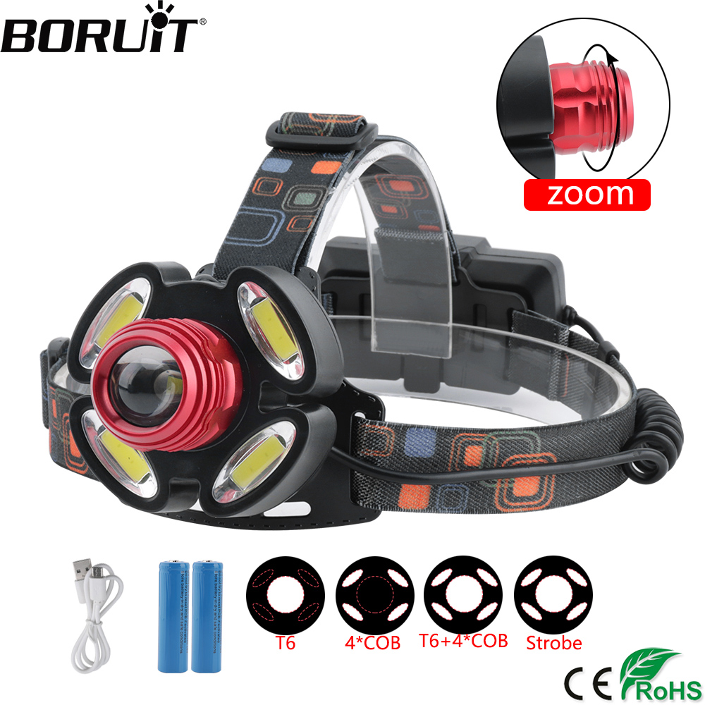BORUiT XQ-118 XML-T6 COB LED Headlight 4-Mode Zoomable Headlamp USB Charger Head Torch Camping Fishing Flashlight 18659 Battery