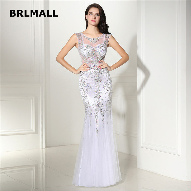 2018 Cut out Evening Dresses White Tulle Sequins Beading Scoop ...