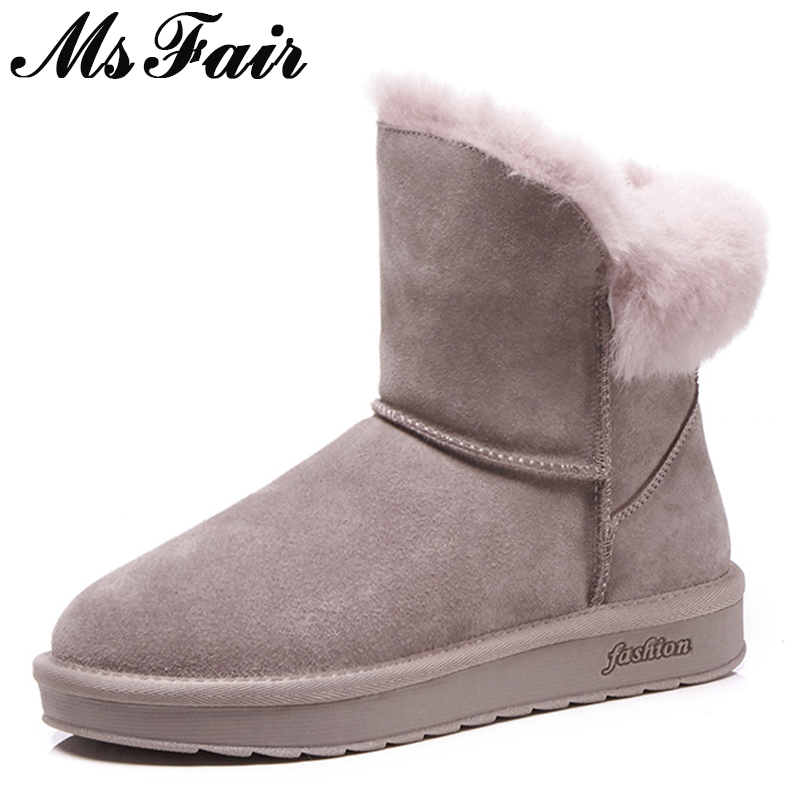MSFAIR Women Snow Boots 2018 Fashion Round Toe Flat Ankle Boots Women Winter Shoes Wool Keep Warm Cotton Snow Boots For Woman fashion keep warm winter women boots snow boots 2017 buckle cotton boots women boots shoes