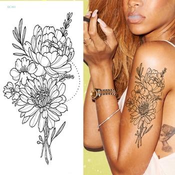 temporary tattoo sticker for men shoulder tattoos black sketches tattoo designs shoulder arm sleeve tattoo fake boys body art 4