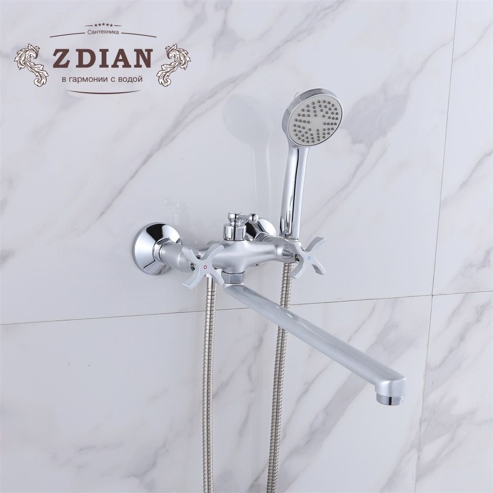 Pearl silver Bathroom Shower Faucets with Long Spout Set Dual Handle Bathtub Faucet with Hand Shower Head Wall Mount Chrome
