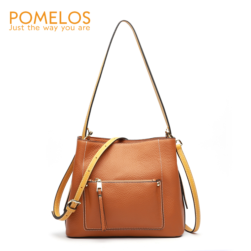 POMELOS Fashion Bags For Women 2018 Genuine Leather Bucket Bag Top Quality Purses and Handbags Shoulder Crossbody Bags for Women цена