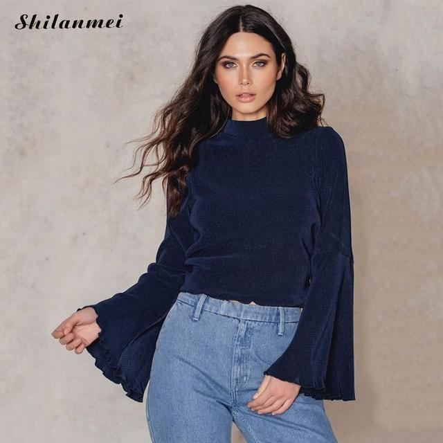 aef2cdcf5e90 cold shoulder tops ladies top Black Blouse Tops For Women Spring Shirt  Blouse blackless Long Sleeve Women Tops Stretch