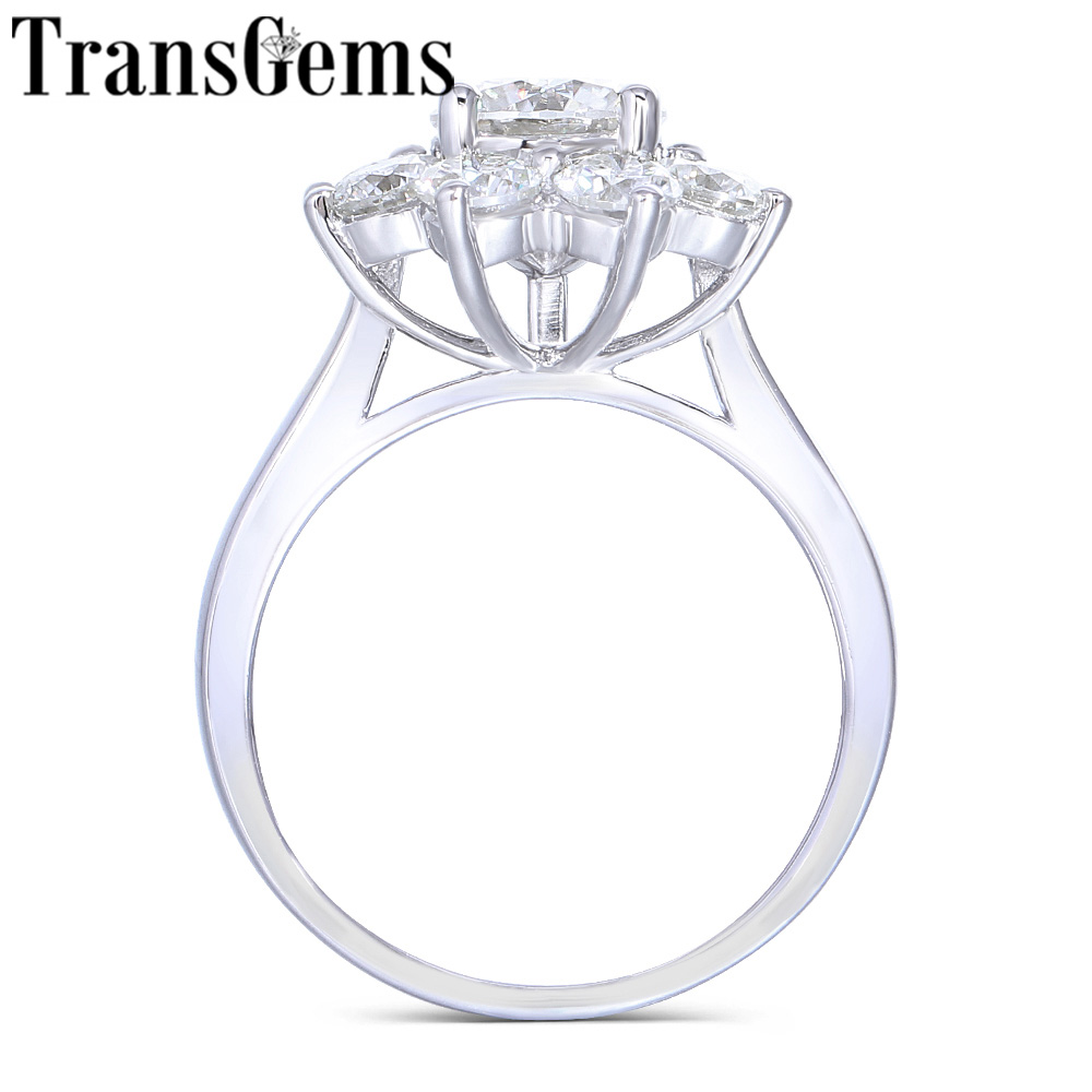 Transgems 14K White Gold Center 1ct 6 5mm F Color Moissanite Stone Snowflake Engagement Ring with
