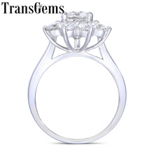 Transgems 14K White Gold Center 1ct 6.5mm F Color Moissanite Stone Snowflake Engagement Ring with Accents For Women Fine Jewelry