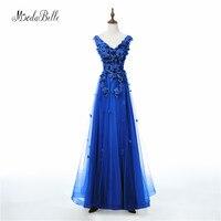 modabelle 2018 Royal Blue Evening Dresses Lace 3D Flowers Tulle Robe Longue Abendkleid Elegant Formal Long Dress Wedding Party