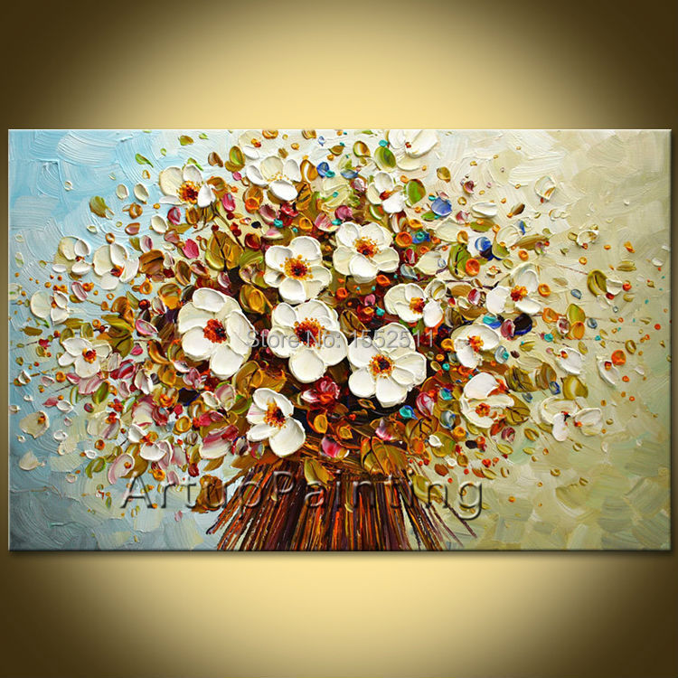 Us 48 38 18 Off Flower Hand Painted Wall Painting Palette Knife Wild Flower Abstract Oil Painting Canvas Modern Room Decorates Living Room 03 In