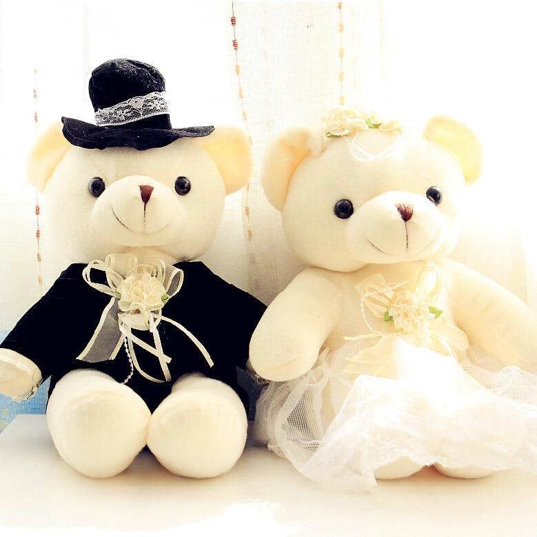 Hot Sale ! 2pcs/lot 20cm Couple Bear Wedding Teddy Bear Romantic Plush Doll Toys Wedding Christmas Gift Bride & Groom For Lovers