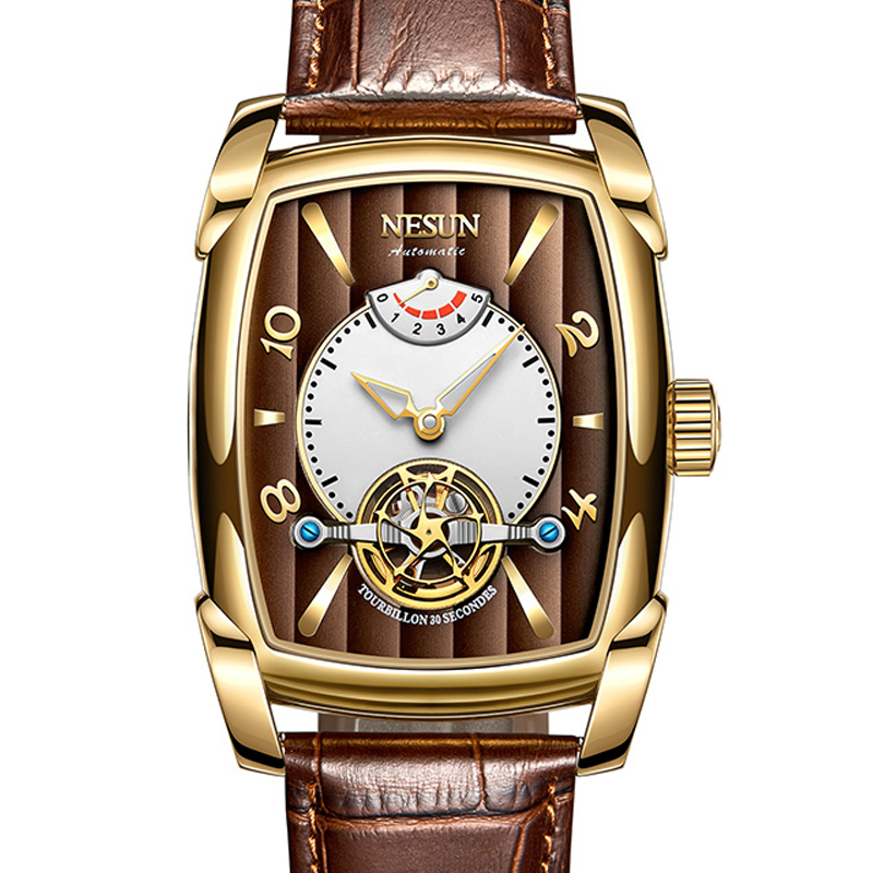 Nesun tourbillion 자동 기계식 시계 해골 시계 남자 럭셔리 브랜드 남자 시계 방수 relogio masculino N9039 3-에서기계식 시계부터 시계 의  그룹 1