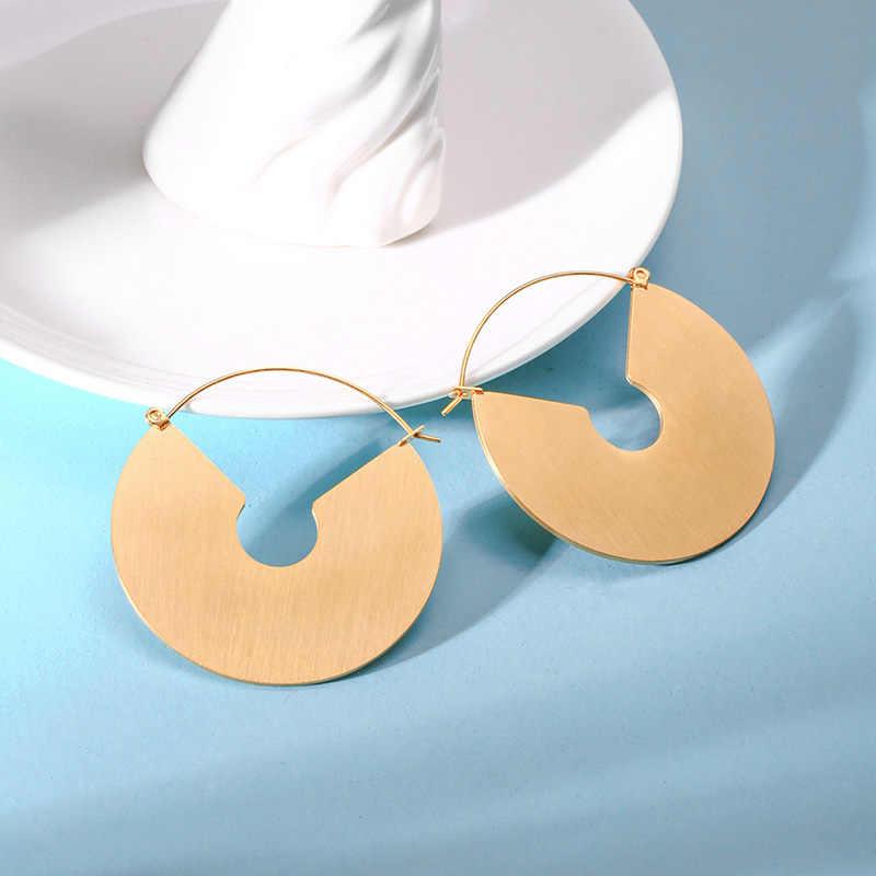 Vnox בציר חישוק עגילי מט זהב צבע מעגל עגילים לנשים ארוך עגיל תכשיטי Brinco
