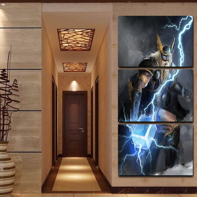 Wall Art Canvas Pictures Frame 3 Pieces Viking God Of Lightning Thor Stock Paintings Abstract Game Poster Home Decor Living Room