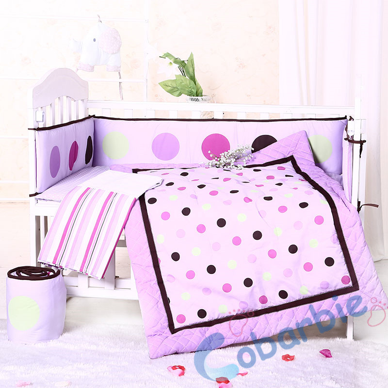 7piecse baby crib bedding set ,quilt, bumper, skirt, fitted sheet, infant bedding, boy and girl