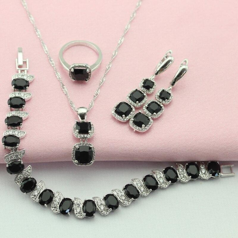 WPAITKYS černá Cubic Zirconia stříbrná barva šperky sady pro ženy dlouhé náušnice řetěz náramek náhrdelník přívěsek prsten zdarma box  t