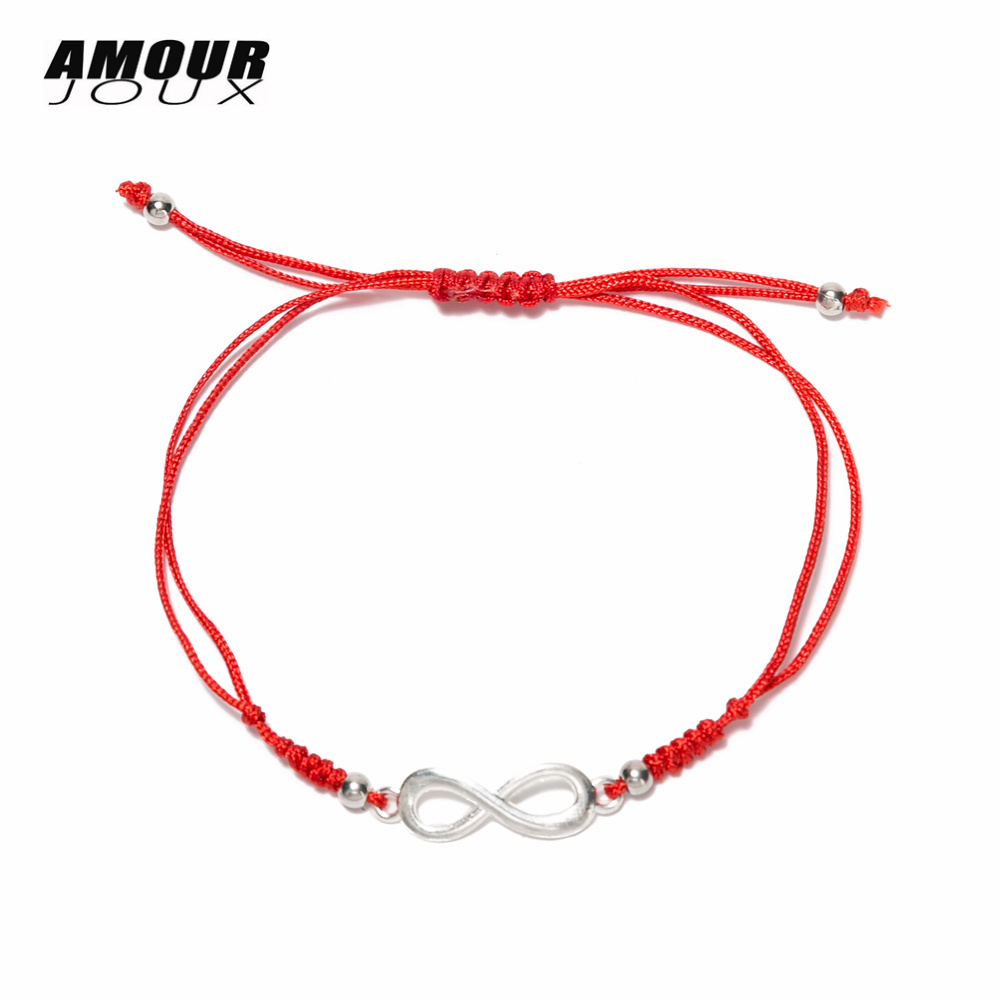 Romantic Dual Layers Handmade Red Thread Amulet String Infinity Charm Chain Bracelets For Women Friendship Dropship