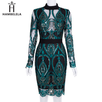 HAMBELELA 2019 New Elegant Women Dress Long Sleeve High Neck Lace Mesh Patchwork Sequin Dress Sexy Evening Party Dress Wholesale