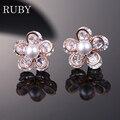 Fashion Korea Flower Shape CZ Earrings Rose Gold Platina Pearl Cubic Zironia Earrings Elegant Brass Bridal Jewelry Free Shipping