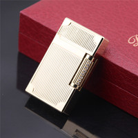 High-end Boutique Series Bright Sound Stripes carved 14K Gold PlatING Fire Lighter Men Cigarette Lighter in Gift Box -A2105