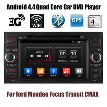 Quad Core Car DVD Player stereo For Ford Mondeo Focus Transit CMAX GPS BT wifi 3G Android 4.4 2 din 7 inch radio