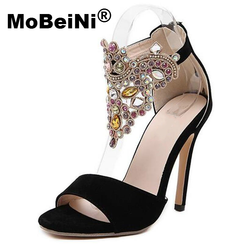 MoBeiNi 2017 New Women Summer Sandals Roman Style Bud Silk Diamond Flock High Heels Stiletto Party Shoes Woman Free Shipping mobeini new fashion colored pompon straps with high heels sandals casual roman women s sandals summer woman gladiator sandals