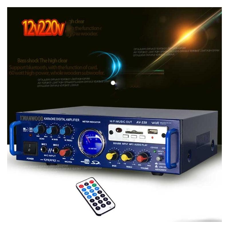 цена на 12v /220v small mini home amplifier K song high power car amplifier AV-339