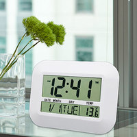 Multifunctionele Digitale LCD Lui Mute Bureau Alarm Wandklok Slaapkamer Thermometer Kalender Wit/Zilver Met Mute Alarm