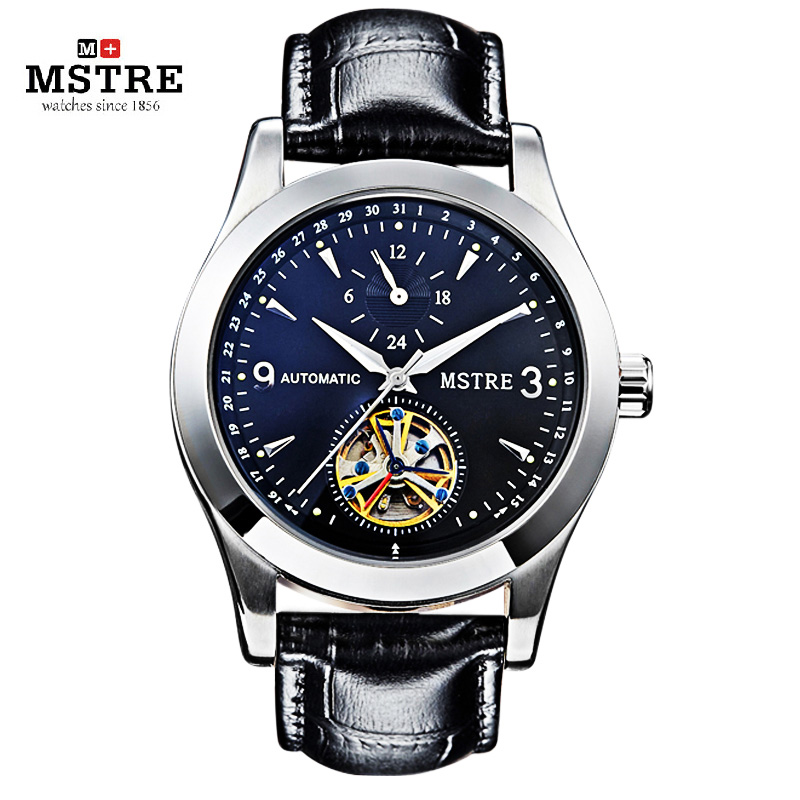 Brand MSTRE Fashion Men Business Casual Watch Automatic Self wind Wrist Watches Flywheel Leather Strap Hollow