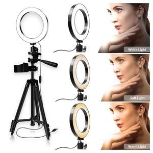 Image 4 - Anel luz de preenchimento pode ser escurecido led estúdio câmera luz de vídeo anular lâmpada com tripé telefone clipe para smartphone selfie ao vivo mostrar