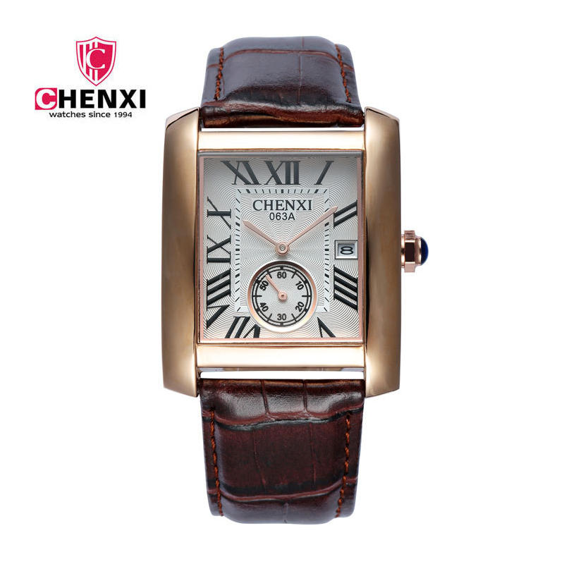 Marca de lujo chenxi hombres cuadrados relojes diseño único Calendarios cronómetro Cuero auténtico cuarzo negocio reloj para hombre casual