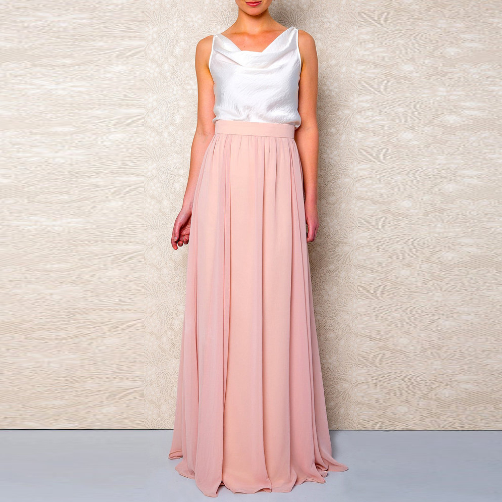 Modest Coral Color Chiffon Long Skirts For Women Zipper High Quality Female Adult Skirt To Bridesmaid Custom Made Saias 2018