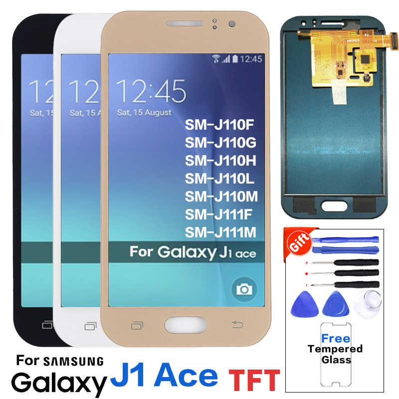 لسامسونج غالاكسي J1 Ace J110 SM-J110F J110H شاشة الكريستال السائل مجموعة المحولات الرقمية لشاشة تعمل بلمس يمكن ضبط السطوع + حامي