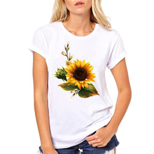 лучшая цена Causal T-shirt for Girls Clothing T-Shirt Cool Girls Sunflower T Shirt Woman White Floral Tshirts Short Sleeve Female