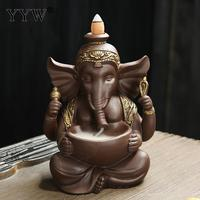Ganesha Backflow Incense Burner Incense Cones Holder Censer Religion Aroma Burner Crafts Home Office Decor Home Fragrance Stand