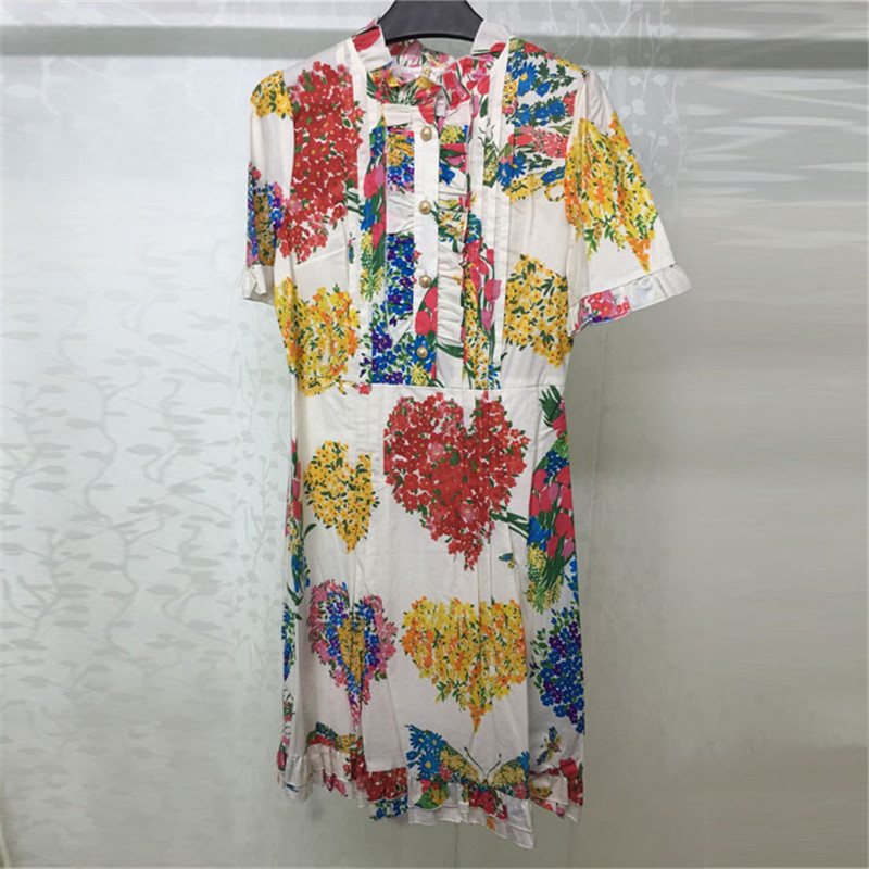 Pour Coton Blanc Imprimer Courtes Femmes Élégant 2018 Manches Nouvelles Les Robe Col Mode À Lady rR5xwnrFqP