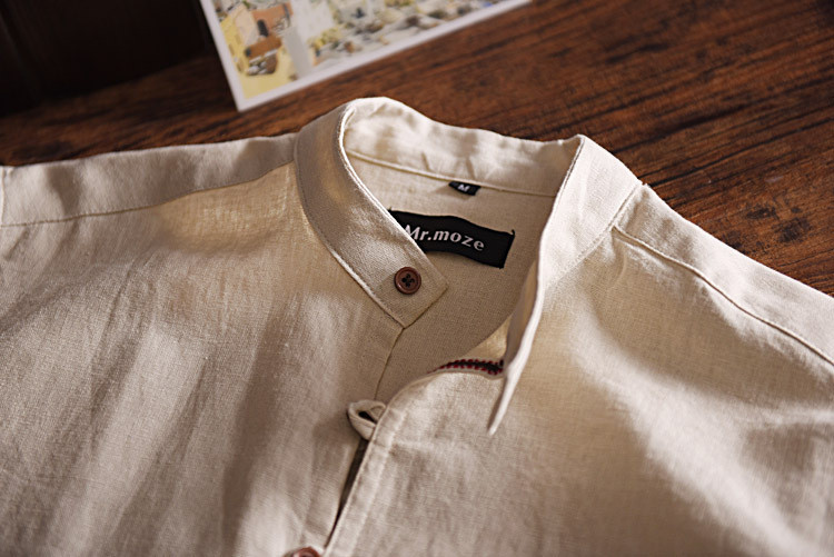 New Mens Leisure Style Dress Shirts Long Sleeve Button-down Collar 100% Cotton Linen Soild Classic Slim Fit Mens Clothing Y005 13