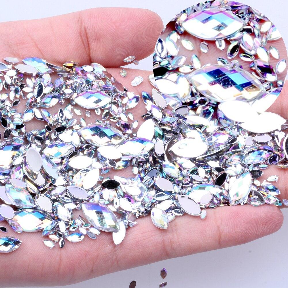 Shiny Beads Jewelry-Decoration Rhinestones Marquise Nail-Art Crystal Ab Earth-Face Acrylic