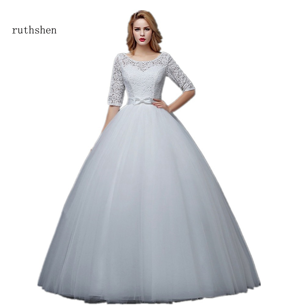 Cheap Wedding Gowns With Sleeves: Ruthshen Elegant Wedding Dresses 2018 Half Sleeves Lace