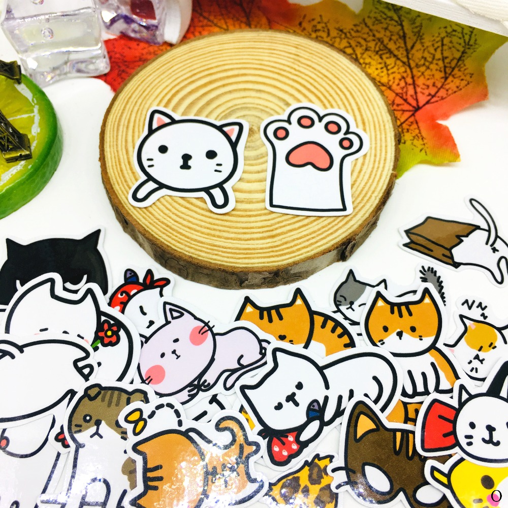 40 PCS Cartoon Stay cute cat Sticker Anime Icon Stickers Gifts for Children to Laptop Suitcase Guitar Fridge Bicycle Car toy