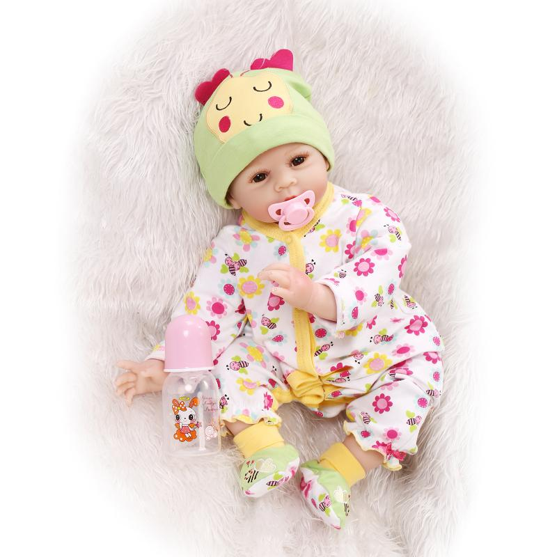 55cm New Soft Silicone Reborn Baby Doll Toy Child Kid Brithday Gift Present Play House Newborn Girl Babies With Nipple Bottle baby girl arianna on board novelty car sign gift present for new child newborn baby page 4 page 6