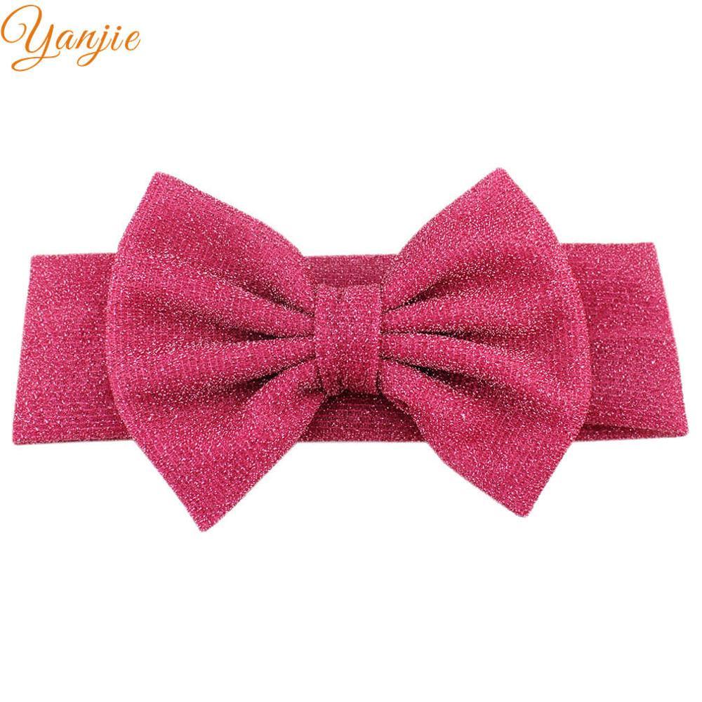"""Для девочек; плотная эластичная повязка на голову для детей с блестками бант повязка на волосы """"тюрбан"""" женские аксессуары для волос для детей эластичные резинки для волос Головные уборы - Цвет: fushia"""