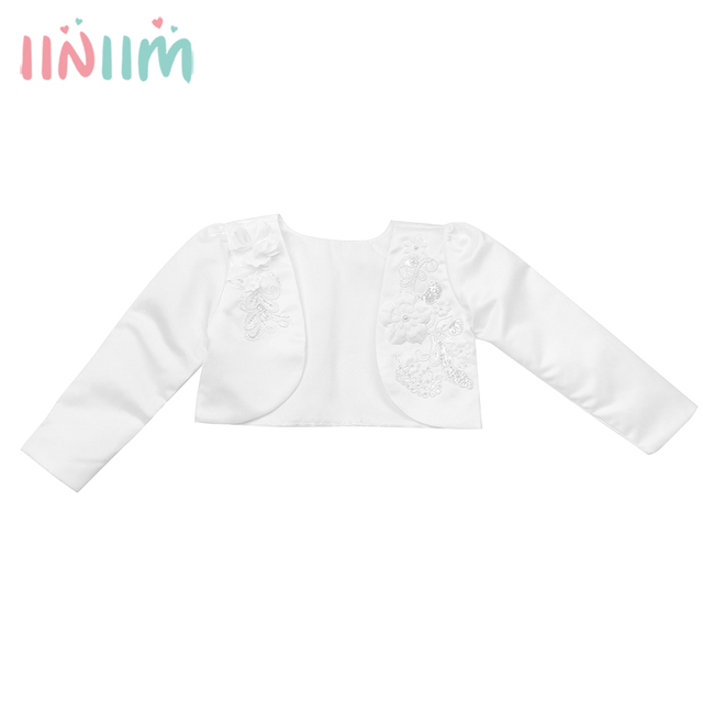 Infantil Baby Kids Girls 3D Flower Long Sleeves Bolero Jacket Shrug Short Cardigan  Sweater for Weeding Dress Cover Up Outerwear 66e1b1e75
