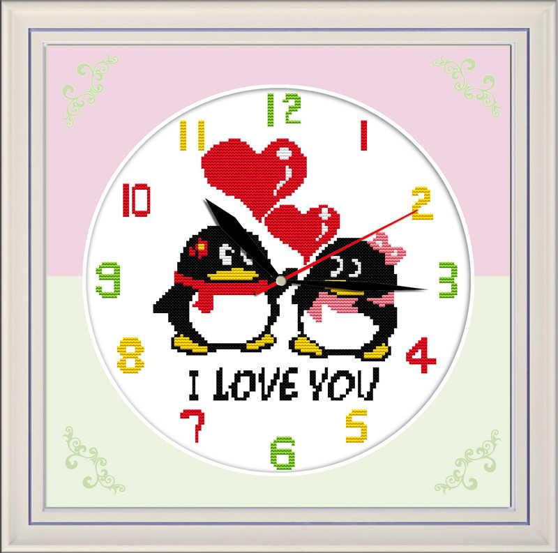 Kit de punto de cruz de amor animal de dibujos animados 14ct 11ct cuenta impresión lienzo pared reloj costura bordado DIY hecho a mano costura