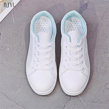 BJYL Fashion Women Casual Shoes Leather Platform Sneakers Ladies White Trainers Chaussure Femme Sexemara Summer Mesh B223