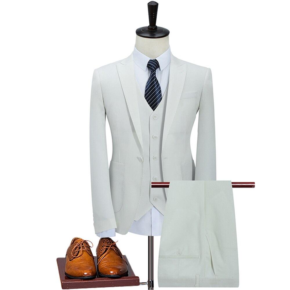 S-5XL Mens (Jacket+Vest+Pants) 2019 Fashion Suits Gentlemen Wear Business Wedding White Blue Khaki Suit Male 3 Piece Tuxedos