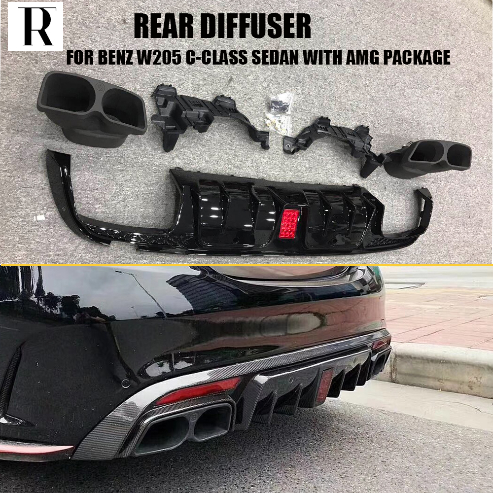 W205 B Style Rear Bumper diffuser with Exhaust tips for Benz W205 Sedan C180 C200 C300 C43 with Amg Package ( No C63 ) 15 - 18 w205 abs car side fender vent trim e amg still for benz w205 c180 c200 c300 4 door not fit for c63 amg 2015 2018
