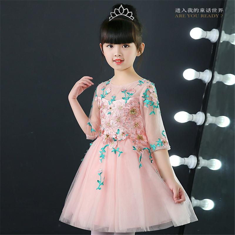 2018 Spring New Little Girls Children Elegant Birthday Wedding Party Ball Gown Flowers Dress Kids Babies Formal Party Dress 2018 spring new children girls elegant fashion pink color flowers princess dress for birthday wedding party baby ball gown dress