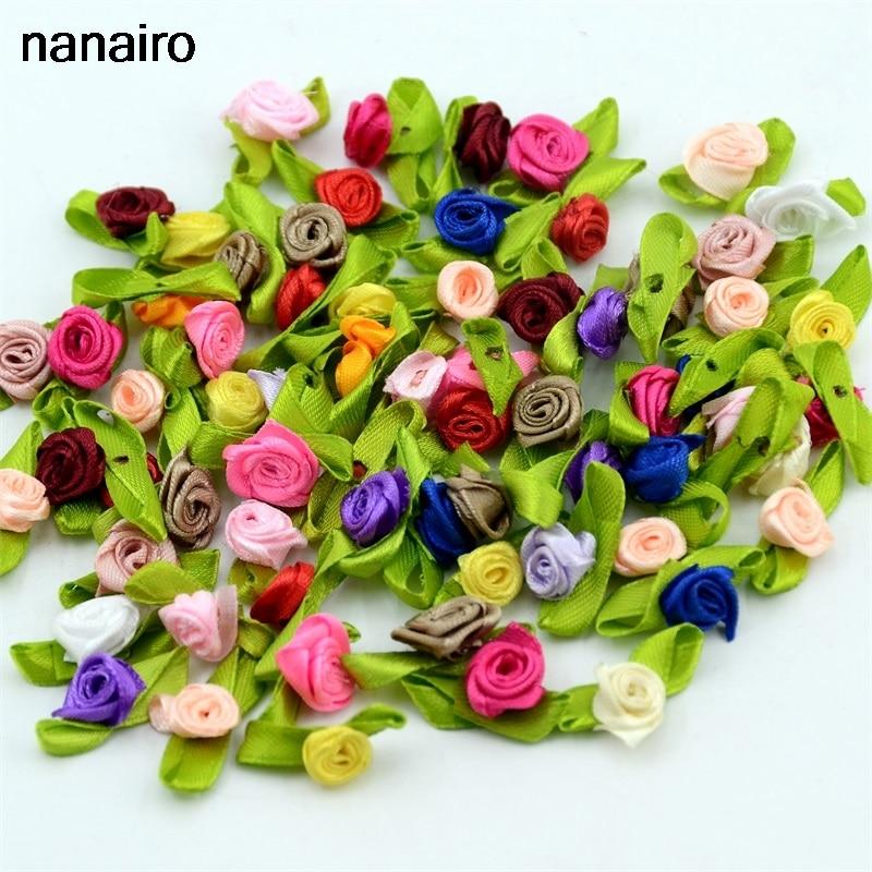 100pcs Artificial Mini Silk Flower Artificial Handmade DIY Ribbon  Rose Pretty Christmas Craft DIY Wedding Decoration Craft