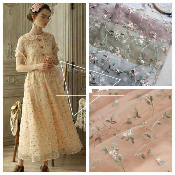 1Yard/Lot Flower Mesh Embroidery Lace Fabric Material Sew On Wedding Dress Clothes Patchwork DIY 130cm Width